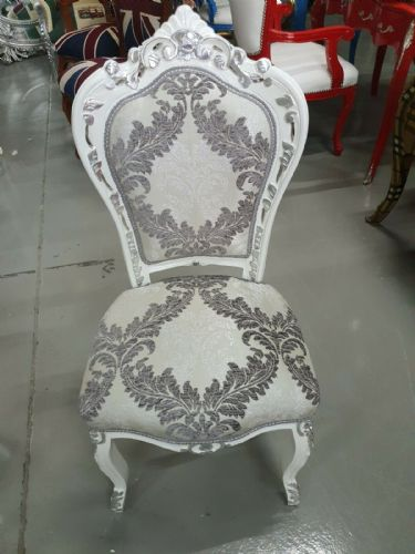 CHAIRS FRANCE BAROQUE STYLE DINING ROYAL CHAIR WHITE-SILVER /SILVER PRINT #60ST5